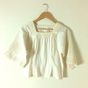 Tops - Vintage 1970s Cream Top with Lace Details